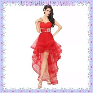 Dresses & Skirts - RED 🆕❤️High Low Glam Crystal Sweetheart Dress❤️